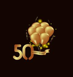 50 year anniversary gold balloon template design vector
