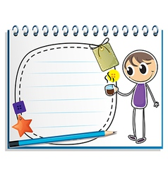 A notebook with a drawing of a boy holding a cup vector image
