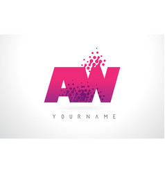 Aw a w letter logo with pink purple color and vector