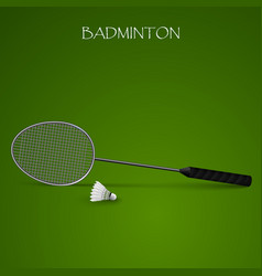 badminton background with racket and shuttlecock vector image