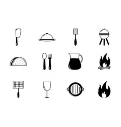 bbq food equipment utensils icons set vector image