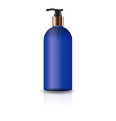 blank blue cosmetic round bottle with pump head vector image