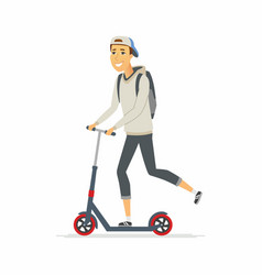 Boy riding a kick scooter - cartoon people vector