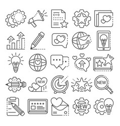 Brand icon set outline style vector