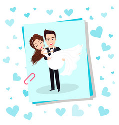 Bride and groom happy couple in love on wedding vector