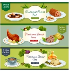 British cuisine national dishes banner set design vector