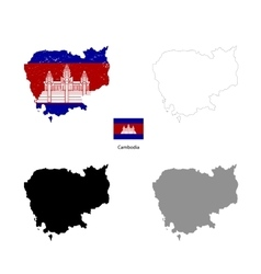 Cambodia country black silhouette and with flag vector