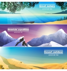 Camping Landscapes 3 Flat Banners Set vector