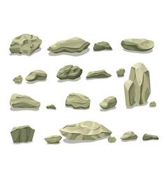 Cartoon colorful gray stones set vector