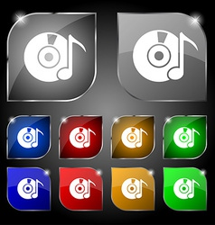 CD or DVD icon sign Set of ten colorful buttons vector