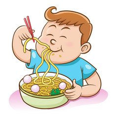 Children boy eating noodles with chopsticks vector