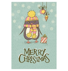 Christmas card with penguin vector