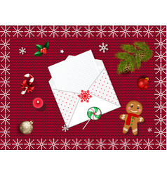 Christmas knitted background with fir tree and vector