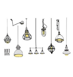 Collection modern isolated loft lamps vintage vector