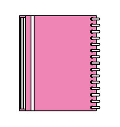 Color silhouette image pink notebook spiral closed vector
