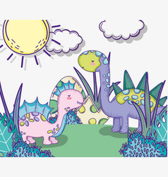 Corythosaururs and stegosaurus animal with dino vector