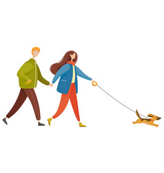 couple walk pet together in autumn dog on leash vector image