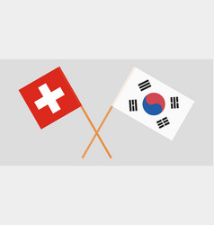 Crossed flags south korea and switzerland vector