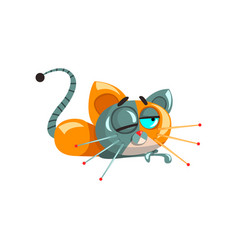 Cute funny robotic cat lying on the floor vector