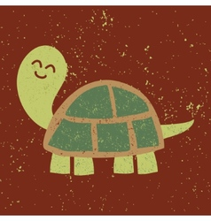 Cute turtle character Sponge Art Effect vector image