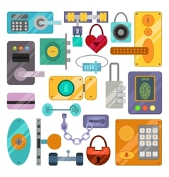 Different house door lock icons set vector image