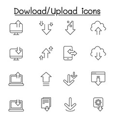 downloading uploading icon set in thin line style vector image