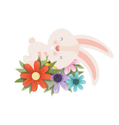 easter bunny with flowers isolated icon vector image