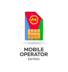 Eritrea mobile operator sim card with flag vector