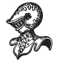 esquire sidelong helmet vintage engraving vector image