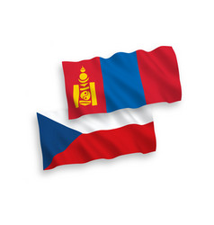 flags czech republic and mongolia on a white vector image