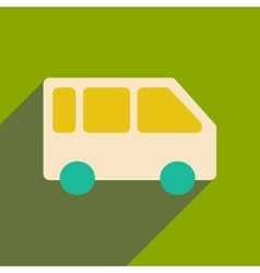 Flat with shadow icon and mobile applacation bus vector