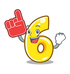 foam finger number six isolated on the mascot vector image