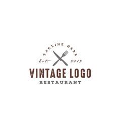 fork knife spoon rustic vintage restaurant logo vector image