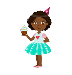 girl with cupcake part of kids at the birthday vector image