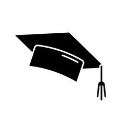 graduation cap black glyph icon vector image