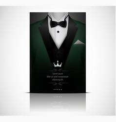 Green suit and tuxedo with black bow tie vector