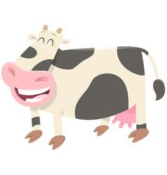 Happy milk cow farm animal character vector
