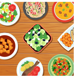 healthy asian thai meal on table top vegetable vector image