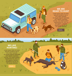 Hunting isometric banners vector