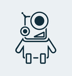 icon of a smiling robot in a linear style vector image