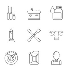 Ignition icons set outline style vector