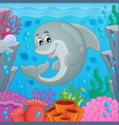 Image with dolphin theme 6 vector