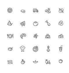 Italian traditional pizza outline icons set vector