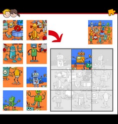 Jigsaw puzzles with robot fantasy characters vector