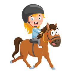 Kid riding horse vector