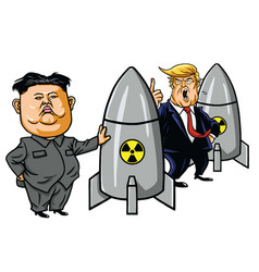 Kim jong un vs donald trump cartoon vector