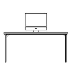 Line wood desk object with computer technolgy vector