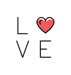love text icon line art design flat vector image