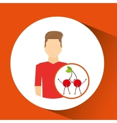 man with cartoon fruit cherrys vector image