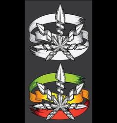 Marijuana cannabis leaf symbol paper parchment vector